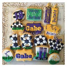 Soccer birthday #bakedblessings #sugarcookies #sugarsaves #decoratedcookies #cookies #cutouts #customcookies #cookieart #bakedblessingsbylisa #soccer #williamsvillebullets #soccercookies