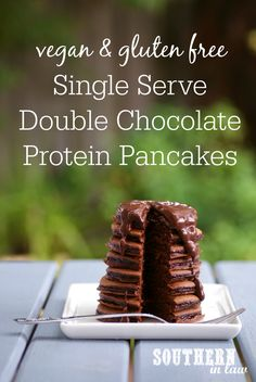 The ultimate breakfast for Chocoholics; these Vegan Single Serve Double Chocolate Protein Pancakes are healthy, gluten free and absolutely delicious! They are also sugar free, low fat, egg free, dairy free, high protein and clean eating friendly!