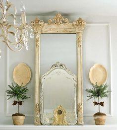coole deko in weiß - vintage spiegel