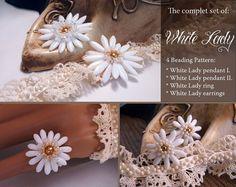 White Lady Beading Tutorial Set: White Lady I. and II. Flower Pendant + Ring + Earrings, Beading Pattern, Beaded Bridal Jewelry, PDF via Etsy