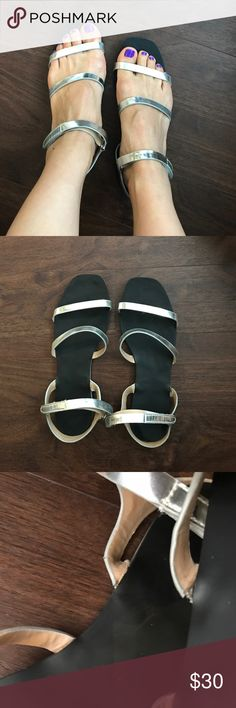 ALDO sliver strips sandals Simple and elegant. Silver Strips ALDO sandals.  Slightly worn out from picture 3. It's not broken and it works just fine. Size 6 and it's true to size . Aldo Shoes Sandals