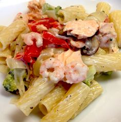 Salmon and Shrimp Pasta Recipe. This will fool your senses into thinking you're eating a rich Italian dish instead of a diet meal. It is only 330 calories p...