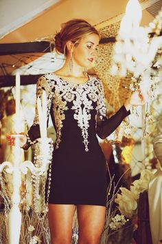 Vintage Inspired Embroidered Black Dress w/ white lace & silver appliques.