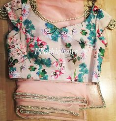 Vintage blouse with pearl and diamond Saree #vintage #pink #ffashionaire #pearl #diamonds #stones #floral #pastel #flowers #leaves #green #colours #new #london #fashionweek #lfw16 More colours available.