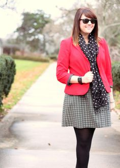 bec0b4ac59 Black white prints + red Casual Work Outfits