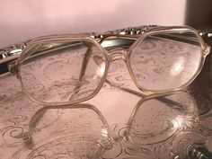 RARE Vintage Clear REVUE Italy Eyeglasses Octagon Large Frame 60-18 Transparent #REVUE #OCTAGON