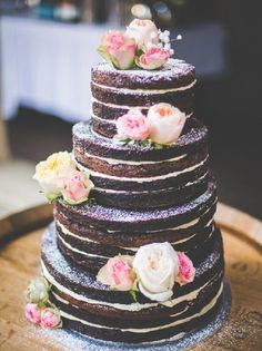 """11 Naked Wedding Cakes That Are Downright Gorgeous Unfrosted, or """"naked"""" cakes have been one of the biggest wedding trends of the past year. Truly versatile, these cakes have taken the wedding industry by storm. Goodbye fondant and hello barely-there Brownie Wedding Cakes, Wedding Cake Fillings, Cake Wedding, Wedding Bride, Wedding Ceremony, Wedding Flowers, Wedding Wishes, Purple Wedding, Pretty Cakes"""