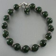 Green Jade Sterling Silver Bead Bracelet