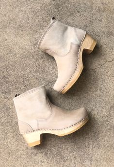 Shearling Clog Boot on Mid Heel in Bone Suede Clog Boots, Cow Leather, Snug, Clogs, Bones, Heels, How To Wear, Style, Fashion