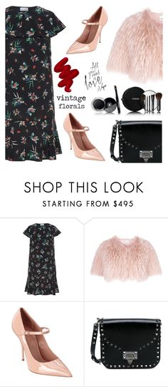 """""""Pretty florals"""" by jan31 ❤ liked on Polyvore featuring RED Valentino, Valentino, Chanel, Obsessive Compulsive Cosmetics, vintage, Pumps, maryjanes, fauxfur and vintageflorals"""