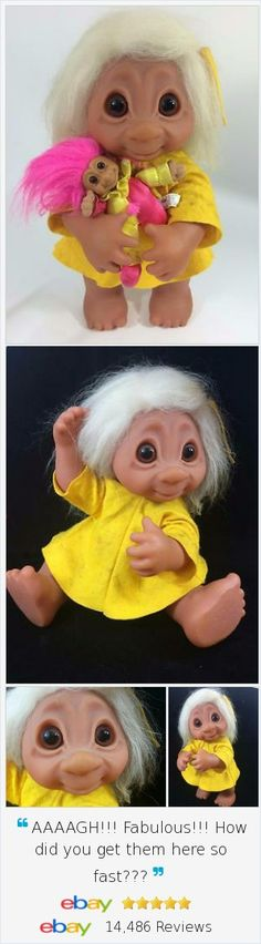 """If you're looking for a dramatic center piece for your Troll collection and display. look no further. Troll Vtg 1979 Thomas Dam BIG 17"""" Girl Livvy Doll is dramatic and largest size offered, model 806. She's playing with her own smaller Russ 8"""" Clown!"""