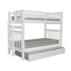 Bedz King Tall Mission Style Bunk Bed Twin over Twin with End Ladder and a Twin Trundle, White