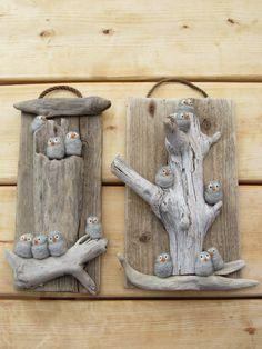 river stones & driftwood plaques