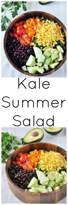 Nothing says summer more than this healthy Kale Summer Salad.  Perfect for parties, picnics, or whenever.  Vegan and gluten free.