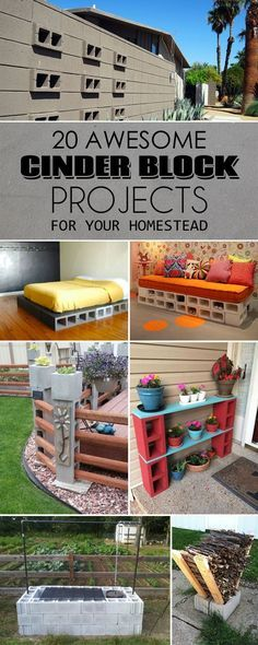 20 Awesome DIY Cinder Block Projects For Your Homestead is part of Outdoor home Projects - Simple, easy and creative ideas to upgrade your homestead using cinder blocks Cinder Block Furniture, Cinder Block Bench, Cinder Block Garden, Cinder Block Ideas, Garden Ideas With Cinder Blocks, Cinder Block House, Cinder Block Shelves, Cinder Block Walls, Backyard Projects