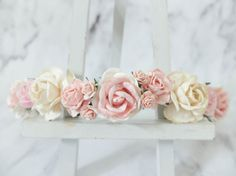This flower crown is a mix of ivory rose with cream pink roses and a few shades of pink roses. This is the first time I combined ivory and pink