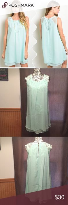 """Mint Dress  This dress features scoop neck with relaxed fit. Lightweight and flirty dress. Must have for summer.   Fabric: Polyester  Made in China.  Measurement armpit to armpit laying flat       Size  S  Bust: 19"""" Length: 34""""                 M Bust: 20"""" Length: 34.5""""                 L  Bust: 20.5"""" Length: 35"""" Condition: New with Tags. NO TRADES, NO LOW BALLERS, NO PP Discount on bundles.  Ask for Custom Bundle to save .  Ships same day or very next day. Dresses Midi"""