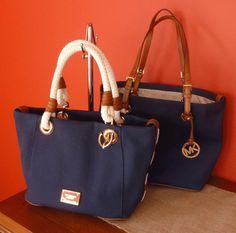 MICHAEL KORS MARINA NAVY blue CANVAS Leather Trim Purse TOTE Grab Bag Nautical