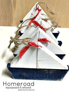 Wooden sailboat summer ornaments