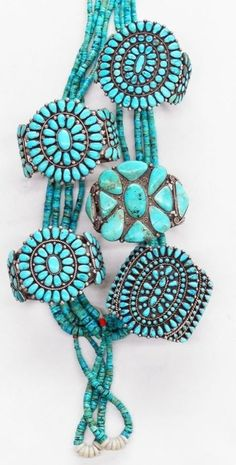 Old style cluster work, beautiful turquoise jewelry.