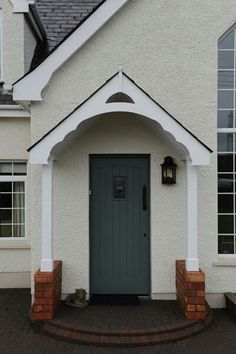 Front Door Canopy Only Referring To The Pillars And Stone Window Curtains