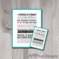 Purpose of Primary Poster and Handout  LDS by AMPitupdesigns