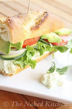 Veggie Submarine Sandwich with Creamy Dill Spread