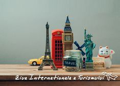 Photo about Travel and tourism concept with souvenirs from around the world. Saving money for vacation.