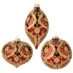 "The Jolly Christmas Shop - Raz 4"" Deep Red And Gold Beaded Glass Ornament 3522861, $8.99 (http://www.thejollychristmasshop.com/raz-4-deep-red-and-gold-beaded-glass-ornament-3522861/?page_context=category"