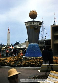 """Oh boy, more vintage Tomorrowland! My favorite. And the """"Clock of the World"""" is also my favorite. Disneyland Tomorrowland, Disneyland Park, Medal Of Honor Winners, Vintage Disneyland, Believe In Magic, Amazing Places, Walt Disney, The Good Place, Group"""