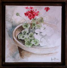 Geranio / geranium Acuarela sobre tela / Watercolor © Ignacio Muñoz Cano