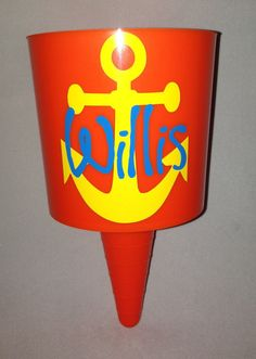 Monogrammed Anchor Beach Spiker - Neon Pink Blue Green Orange - Personalized and Custom Made With Your Name or Monogram