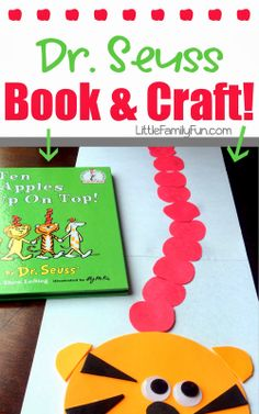 Fun and easy Dr. Seuss Craft! Great craft to go with the book -- Ten Apples Up On Top. Read the book then do the craft! So fun! Use each kids picture to put apples on top!