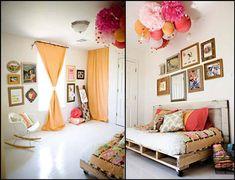 Como podréis ver por estas imágenes los pompones quedan geniales en la decoración de habitaciones infantiles: