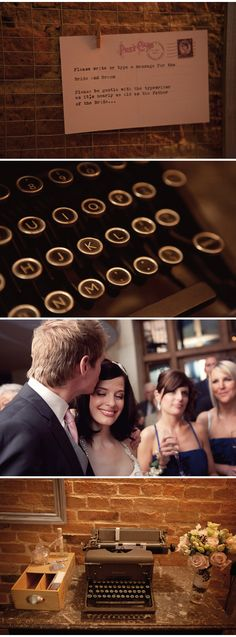 """Definitely happening at our wedding! Me and Mahlon scored a beautiful (WORKING) antique typewriter. Design beautiful vintage-style postcards and have people leave us our """"guestbook"""" messages on them with our typewriter! Genius!"""