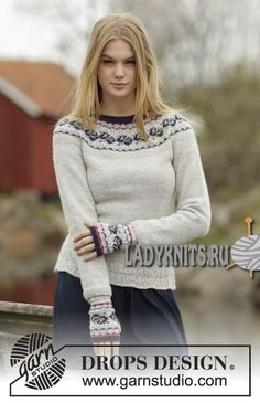 Vintage Rose - Knitted DROPS jumper with round yoke and rose pattern in Alpaca or Flora. Size: S - XXXL. - Free pattern by DROPS Design Drops Design, Sweater Knitting Patterns, Knit Patterns, Punto Fair Isle, Vintage Rosen, Drops Patterns, Fair Isle Pattern, Fair Isle Knitting, Alpacas