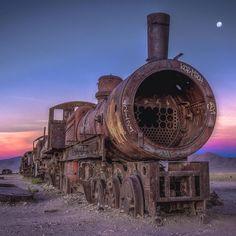 Location: Train Cemetery - Uyuni Bolivia.  Photo Credit: @skaremedia by travelsouthamerica