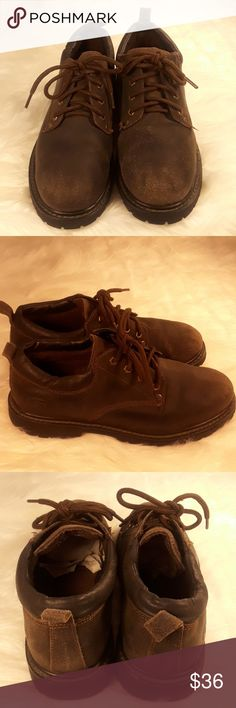 Skeckers oxford brown leather mens size 9 lace up Skechers men's size 9 Oxford brown leather.Distressed leather gently used condition rubber soles ,lace up shoes Skechers Shoes Oxfords & Derbys