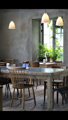 InteriorConcrete Wall Design For Vintage Decoration Dining Room Wth Old Wooden Table And Nice Chairs Also Pendant Lamps Idea