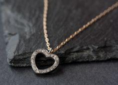 Pavé Diamond Heart Necklace. $188.00, via Etsy.