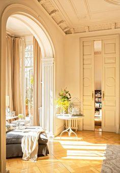 Barcelona Apartment living room sun sunny sun-filled crown molding french doors sliding doors comfy