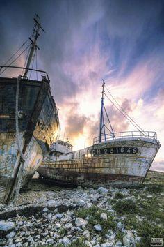 Ship graveyard in the harbor of Camaret-sur-Mer, Brittany, France,