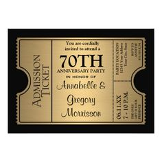 Golden Ticket Style 70th Wedding Anniversary Party Invites