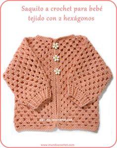 Saquito a crochet para bebé tejido con 2 hexágonos: Patrón y Paso a Paso