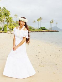 TP 2003C [Makapuu/White] Long Dress - Long Dresses - Hawaiian Dresses | AlohaOutlet SelectShop