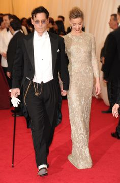 Celebrity couple Johnny Depp and Amber Heard at the 2014 Met Gala