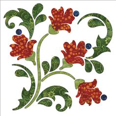 Blossoms - Block A - Fall - Applique By Patricia E. Ritter Laser-cut fabric applique elements backed with Steam-A-Seam 2 Machine Quilting Patterns, Applique Quilt Patterns, Quilting Designs, Applique Templates Free, Owl Templates, Applique Ideas, Felt Patterns, Dress Patterns, Fall Applique