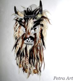 Krampus Wall Mask. He dance and the bells rattle to drive away evil and welcome health, honor. Similar traditions can be seen today in Italy, Spain, Poland, Hungary, Romania, Bulgaria, Moldova, Croatia, Slovakia, Serbia, Greece and Macedonia.