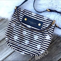 Marc Jacobs nylon striped dot crossbody Super chic Marc by Marc Jacobs nylon striped cross body bag. Super roomy! Could use a cleaning but no tears or holes inside is like new. Adjustable strap! Must have! Host pick 3.18.16 Marc by Marc Jacobs Bags Crossbody Bags