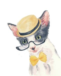 Print of a Cat - Watercolor PRINT, 8x10, Reading Glasses, Gray Kitten